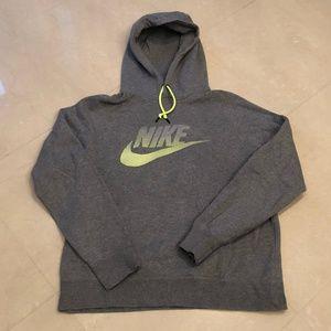 Men's Grey Nike Hooded Sweatshirt Sz L